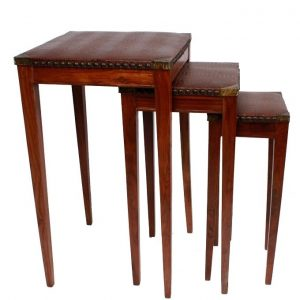 Set of 3 - Crocodile Textured Leather Nesting Table Set - Brown