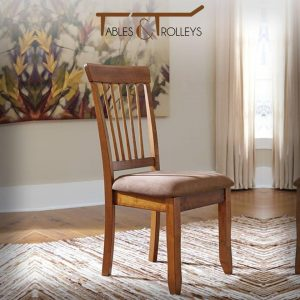 Tables and Trolleys - Wooden Chair set of 2- Brown