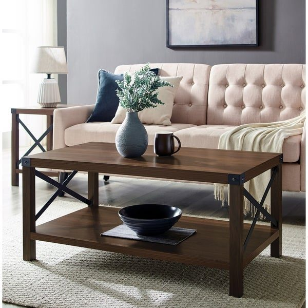 Tables and Trolleys - Metal X Coffee Table - Brown