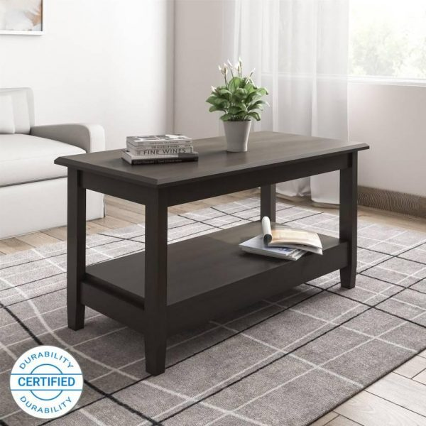 Tables and Trolleys - Solid Wood Coffee Table (Finish Color - Dark Brown)