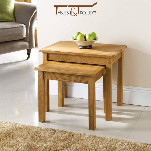 Tables and Trolleys - Luxury Rounded Corners Nesting Table - Brown