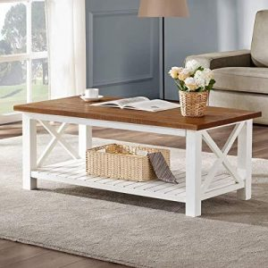 Tables and Trolleys – Wooden Rustic, Vintage Coffee Table, Brown Top- White