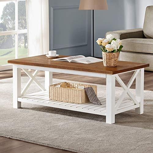 Tables and Trolleys - Wooden Rustic, Vintage Coffee Table, Brown Top- White
