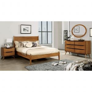 Tables and Trolleys – Modern Brown Bed Set – Bedside table, Chest of Drawers Mirror