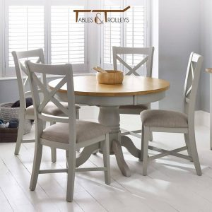 Tables and Trolleys – 4 piece Dinning Set – Grey