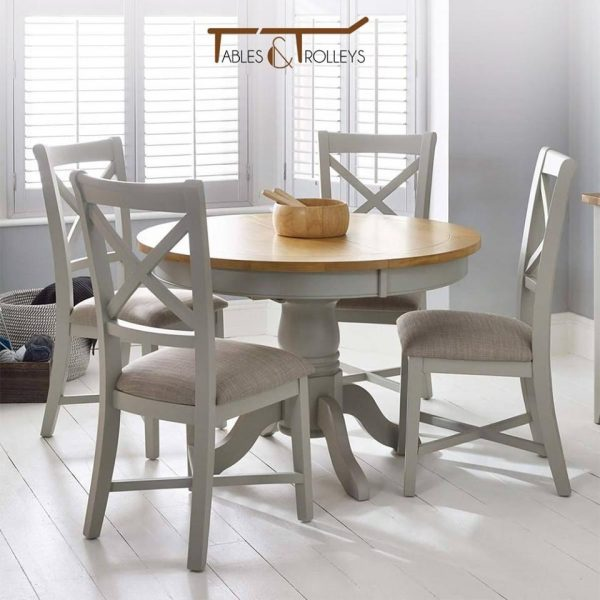 Tables and Trolleys - 4 piece Dinning Set - Grey