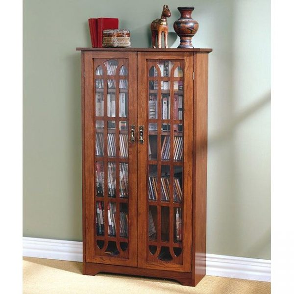 Tables and Trolleys - 6-shelf Oak Media Cabinet for home decor - Brown
