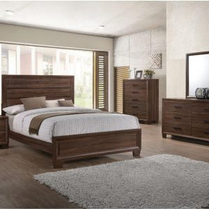 Tables and Trolleys – Transitional Medium Brown 4-piece Bedroom Set – Brown