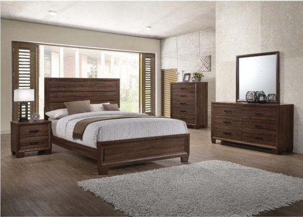 Tables and Trolleys - Transitional Medium Brown 4-piece Bedroom Set - Brown
