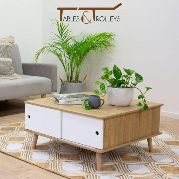 Tables and Trolleys - Coffee Table - Brown and White