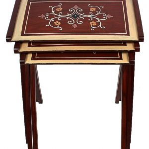 Hand Painted Nesting Table Set - 3 Pieces - Brown