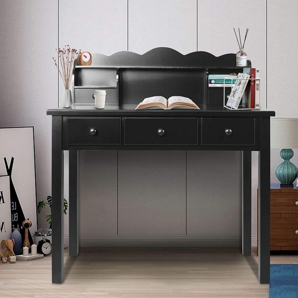 Home Office Furniture Writing Desk,Computer Work Station with Detachable Hutch,5 Drawers (Black)
