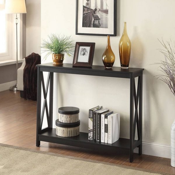 Tables and Trolleys - X-base Console Table - Black