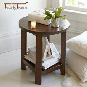 Tables and Trolleys - Round End Table - Dark Brown