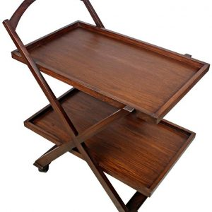 Movable Tea Trolley With 2 Portions - Detachable - Brown