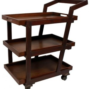Tea Trolley - Detachable Tray Top 3 Portions - Brown
