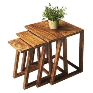 Wood Nesting Tables Set Of 3 Stool Set