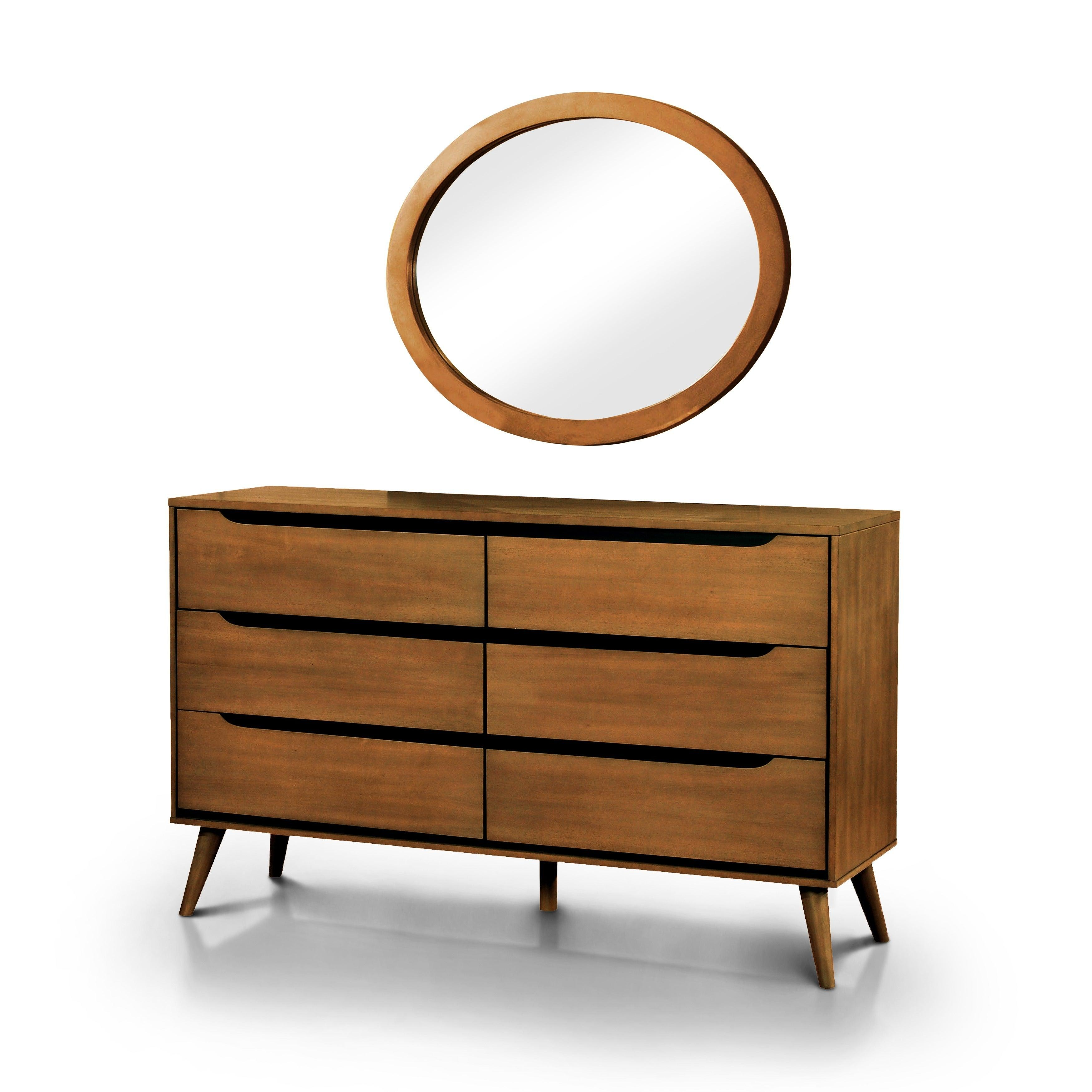 Tables and Trolleys - Modern Brown Bed Set - Bedside table, Chest of Drawers Mirror
