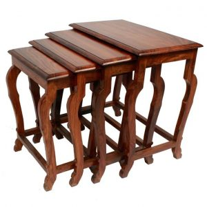 Set of 4 - Nesting Table Set - Brown