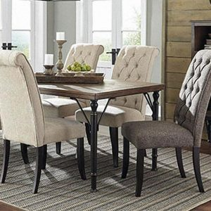 Tripton Contemporary Dining set with 6 Chairs - Beige