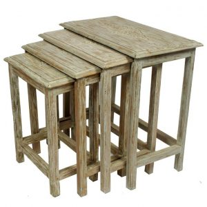 Set of 4 - Carved Top Nesting Table Set - 4 pieces - Chalk & Gold