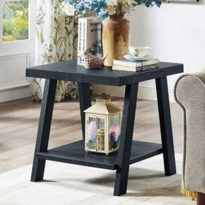 Tables and Trolleys - Contemporary Wood Shelf End Table - Black