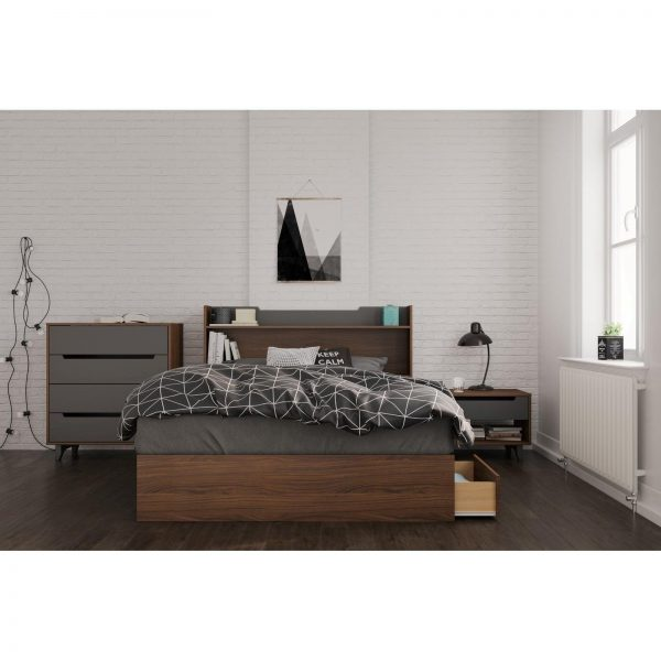 Tables and Trolleys Solid Wood - 4 Piece Bedroom Set, Walnut