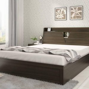 Tables and Trolleys Solid wood King Bed - (6ft x 6.5ft) with 2 Side Table Walnut Brown