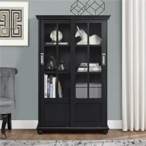 Tables and Trolleys - Bookcase with Sliding Glass Doors - Black