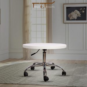 Tables and Trolleys - Adjustable Wooden Round Table - White