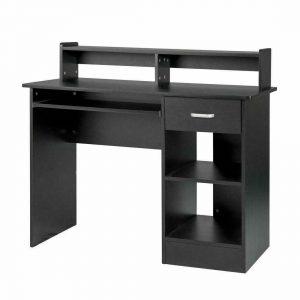 Black Computer Desk Home Office Workstation Laptop Table Drawer & Keyboard Tray